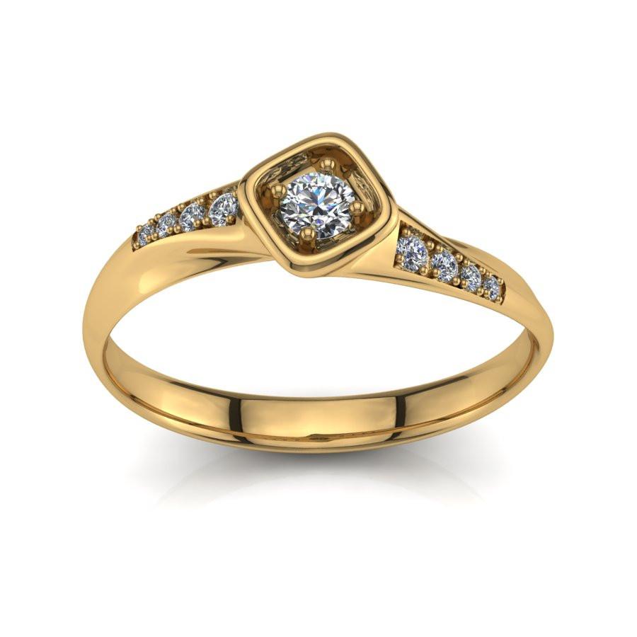 Złoty pierścionek z brylantem o masie 0,14ct PZ-200