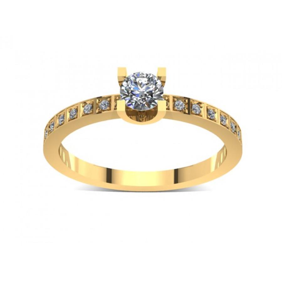 Złoty pierścionek zaręczynowy z brylantami 0,272ct PZ-035