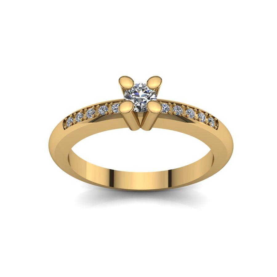 Złoty pierścionek zaręczynowy z brylantami 0,13ct PZ-078