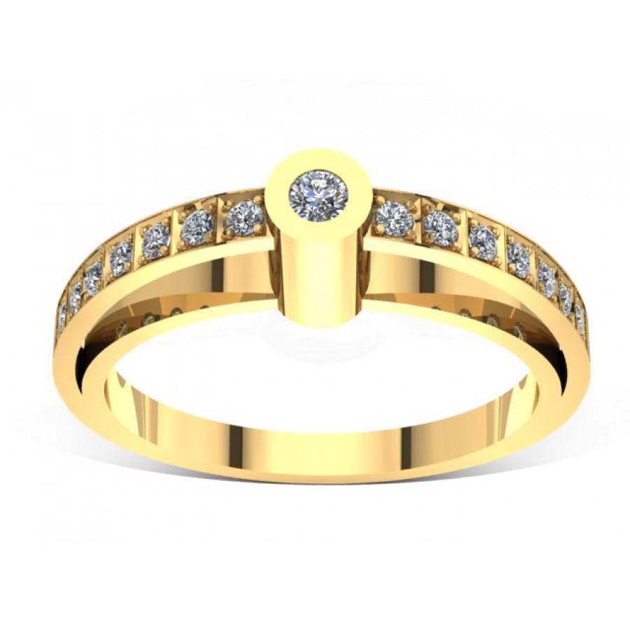 Złoty pierścionek zaręczynowy z brylantami 0,1ct PZ-047
