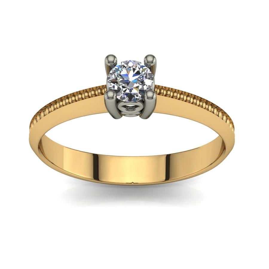 Złoty pierścionek zaręczynowy z brylantem 0,23ct PZ-074