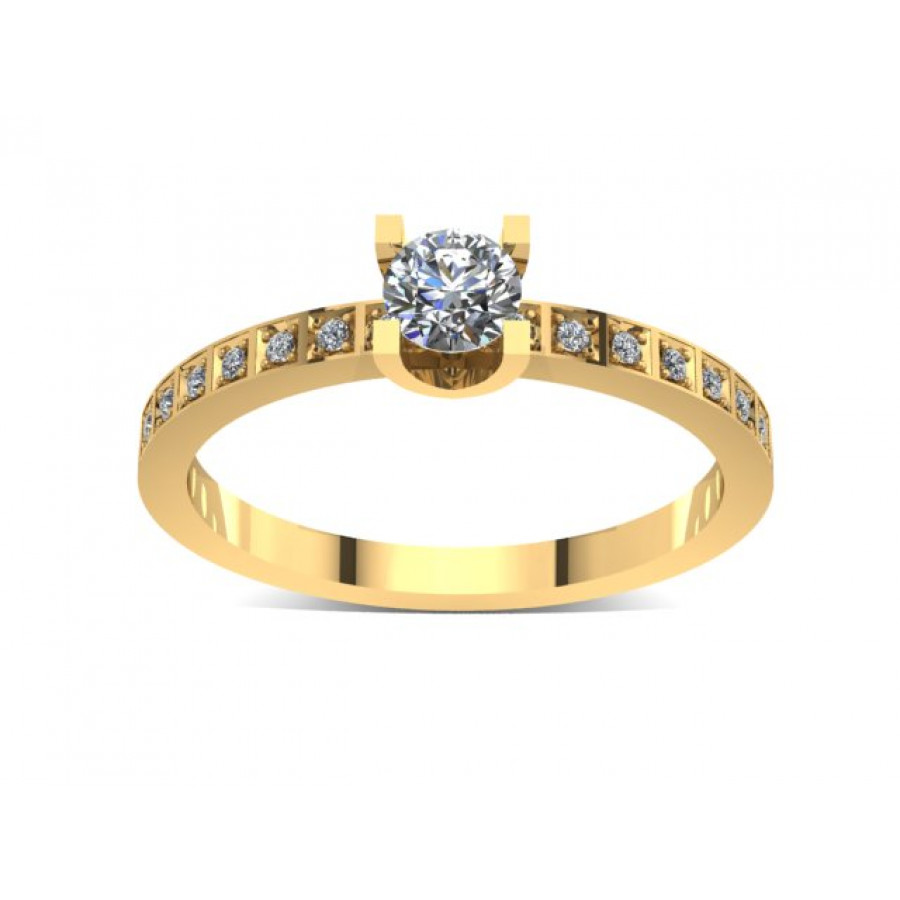 Złoty pierścionek zaręczynowy z cyrkoniami PZ-035C