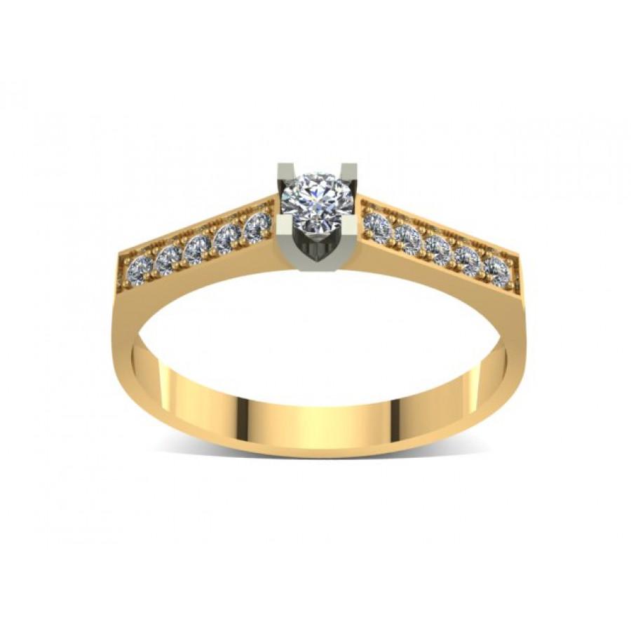 Złoty pierścionek zaręczynowy z cyrkoniami PZ-040C