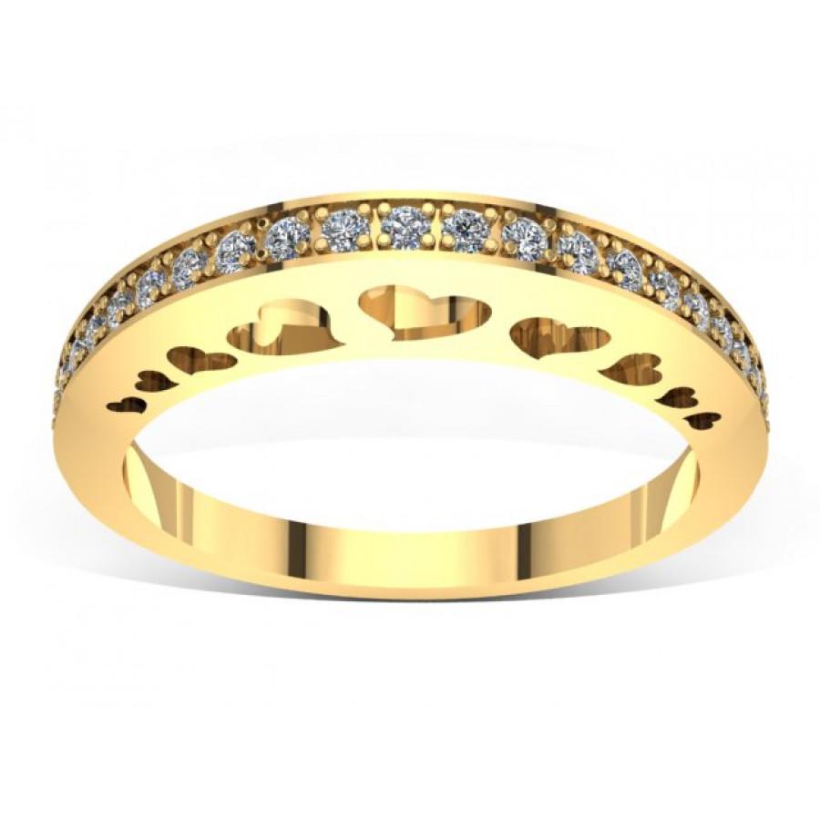 Złoty pierścionek zaręczynowy z cyrkoniami PZ-046C