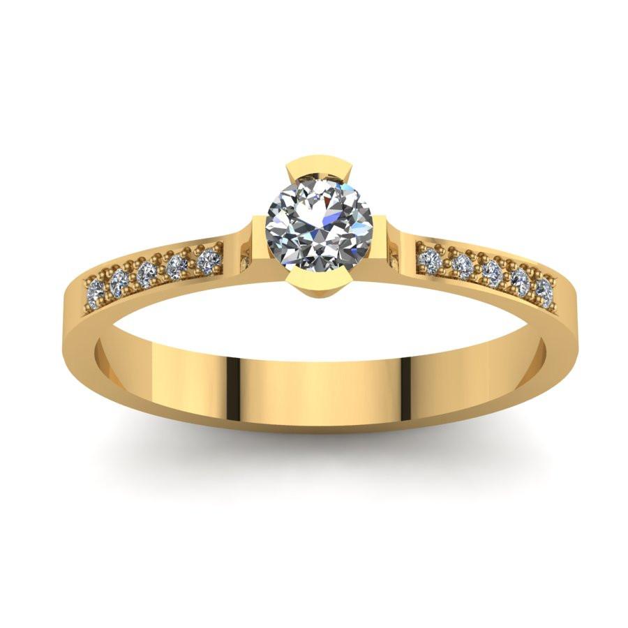 Złoty pierścionek zaręczynowy z cyrkoniami PZ-050C