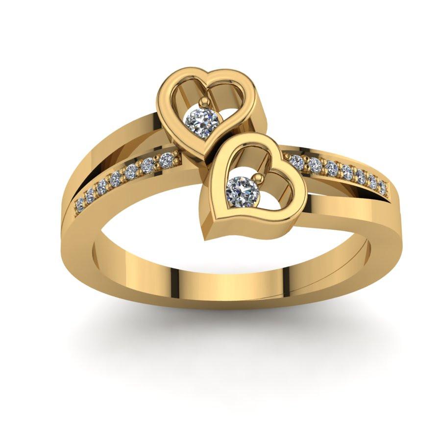 Złoty pierścionek zaręczynowy z brylantem 0,102ct PZ-139