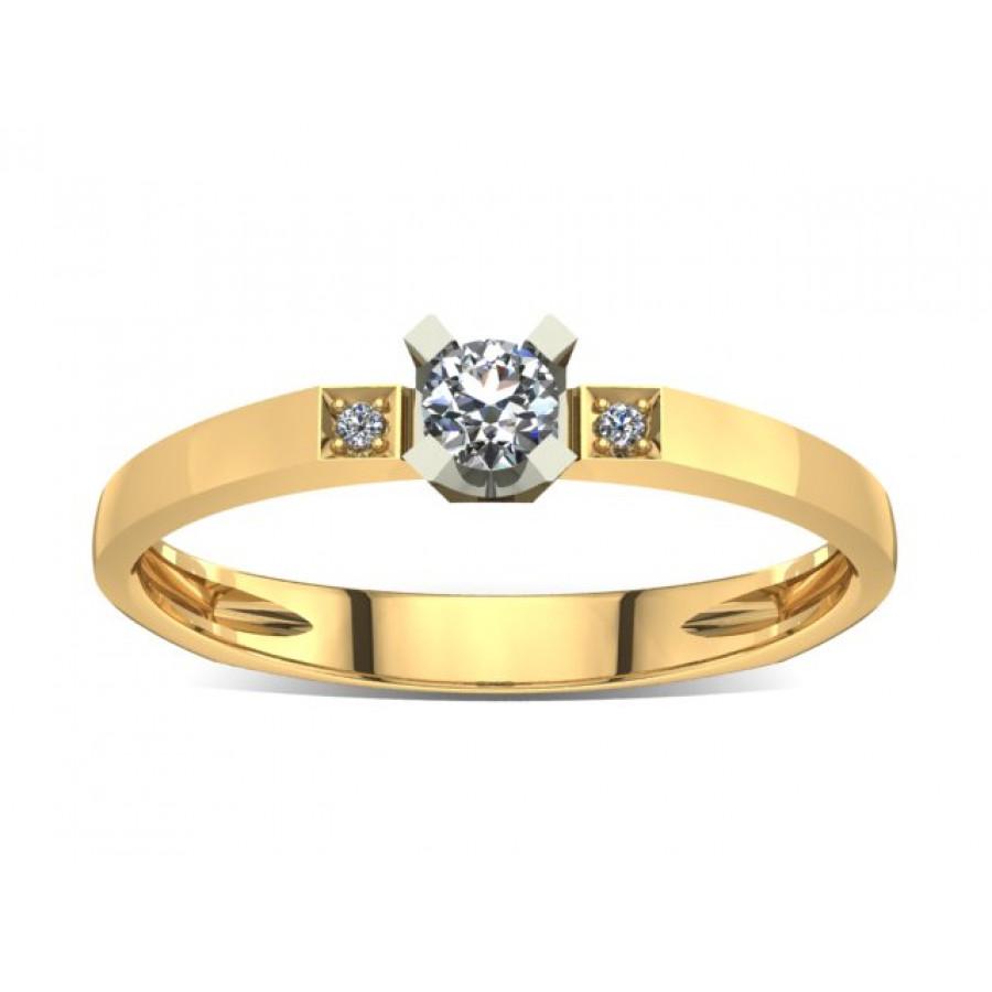 Złoty pierścionek zaręczynowy z brylantami 0,106ct PZ-022