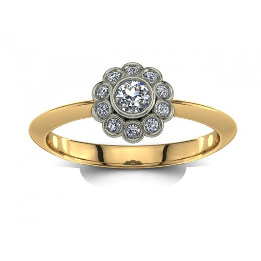 Złoty pierścionek zaręczynowy z brylantami 0,13ct PZ-029
