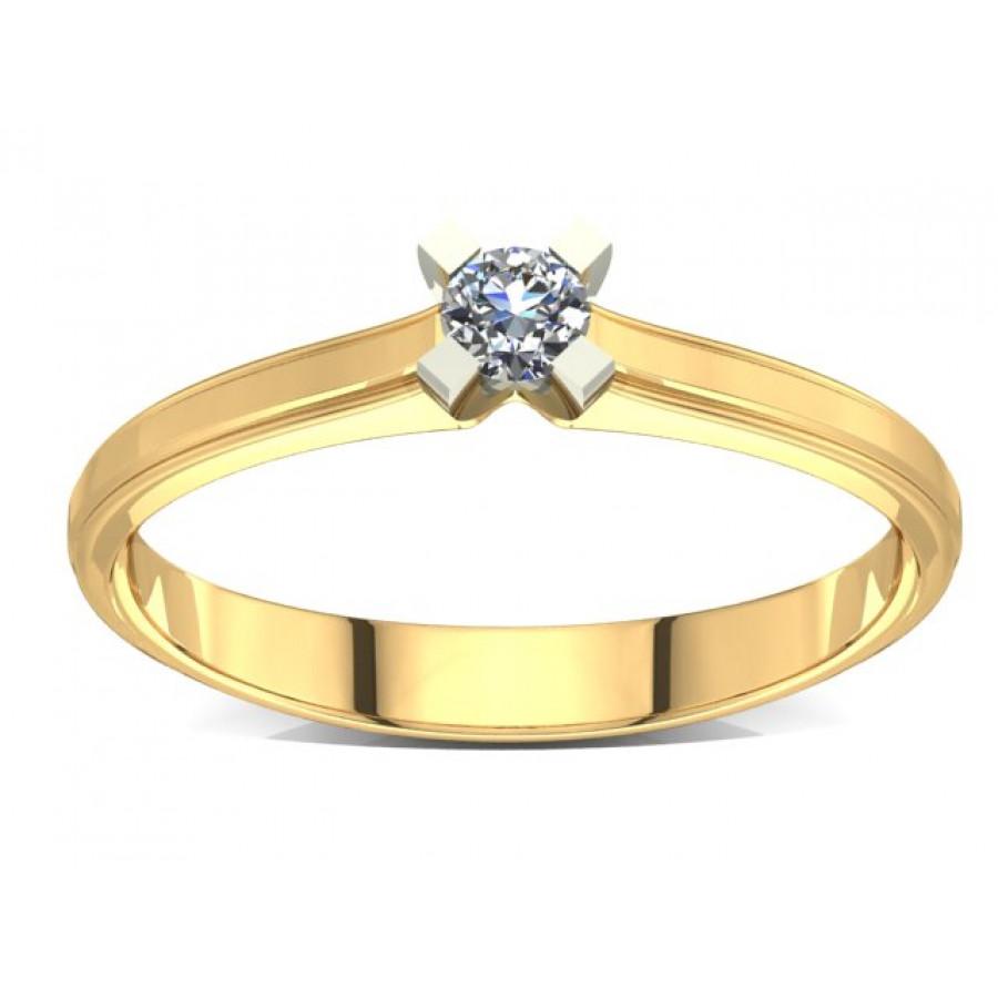 Złoty pierścionek zaręczynowy z brylantem 0,1ct PZ-002