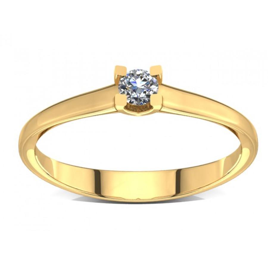 Złoty pierścionek zaręczynowy z brylantem 0,1ct PZ-004