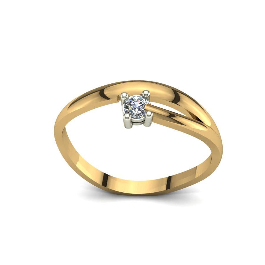 Złoty pierścionek zaręczynowy z brylantami 0,1ct PZ-097