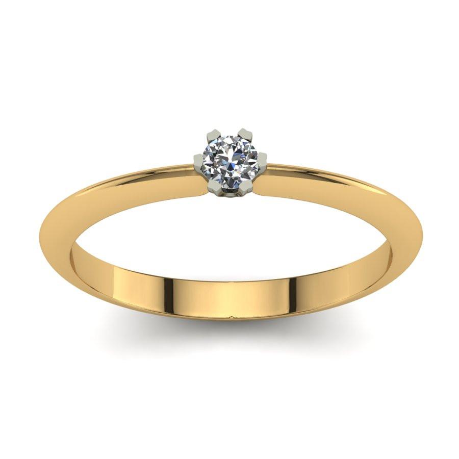 Złoty pierścionek z brylantem o masie 0,1ct PZ-198-3