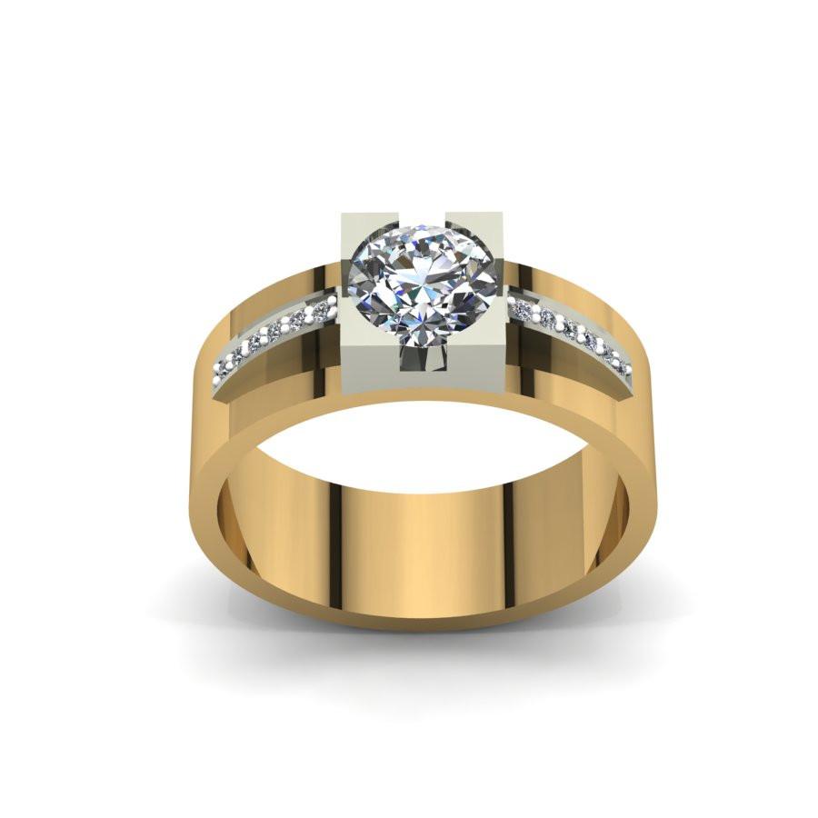 Złoty pierścionek zaręczynowy z cyrkoniami PZ-088C