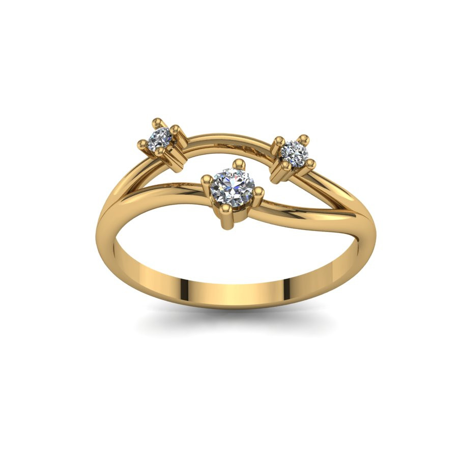 Złoty pierścionek zaręczynowy z cyrkoniami PZ-095C