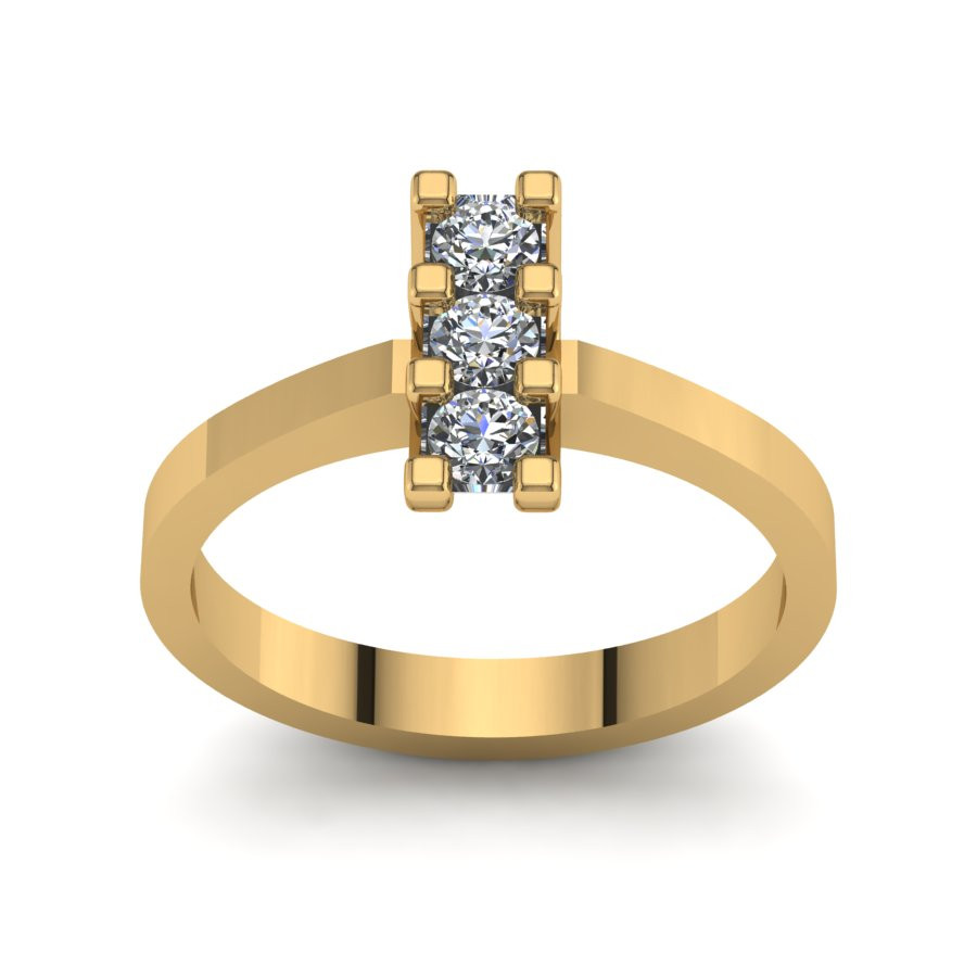 Złoty pierścionek zaręczynowy z cyrkoniami PZ-125C