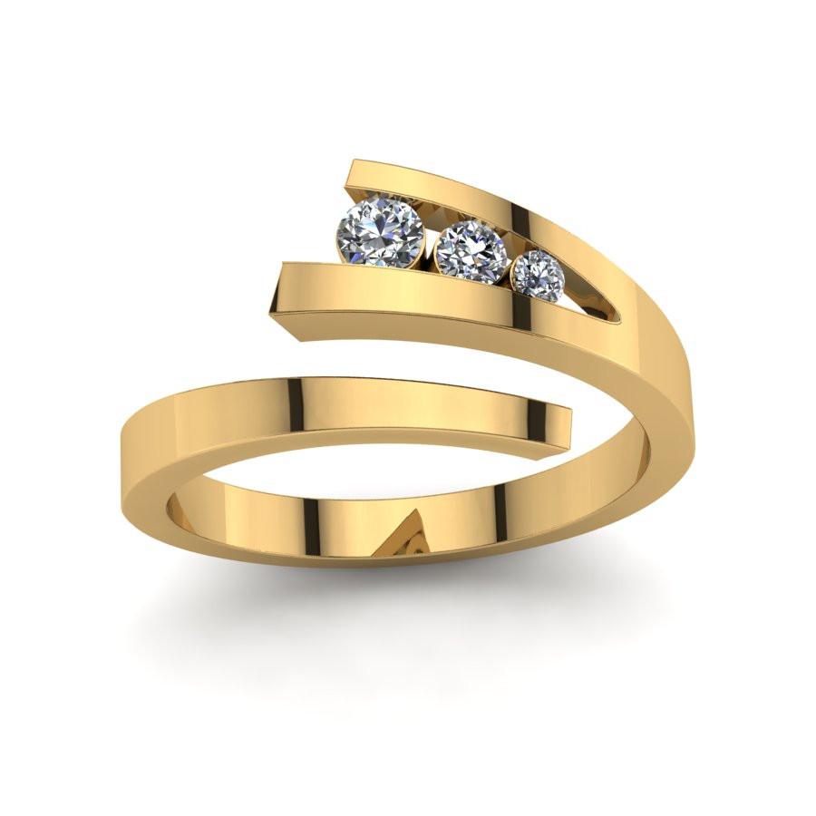 Złoty pierścionek zaręczynowy z cyrkoniami PZ-143C