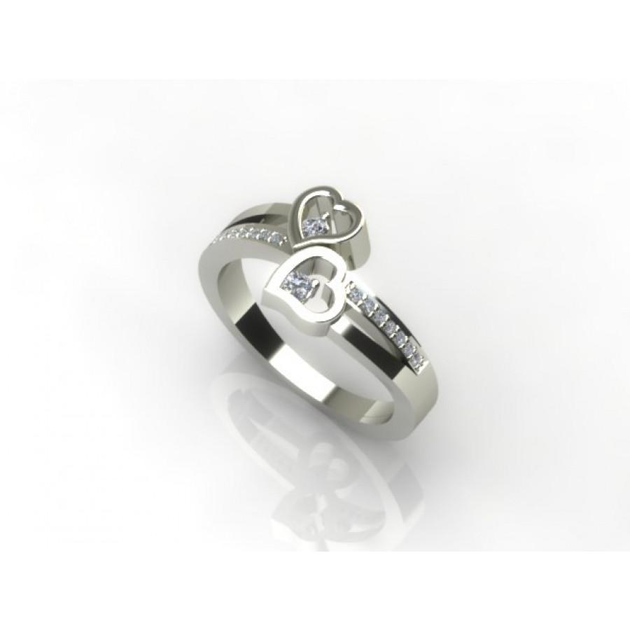 Złoty pierścionek zaręczynowy z cyrkoniami PZB-139C