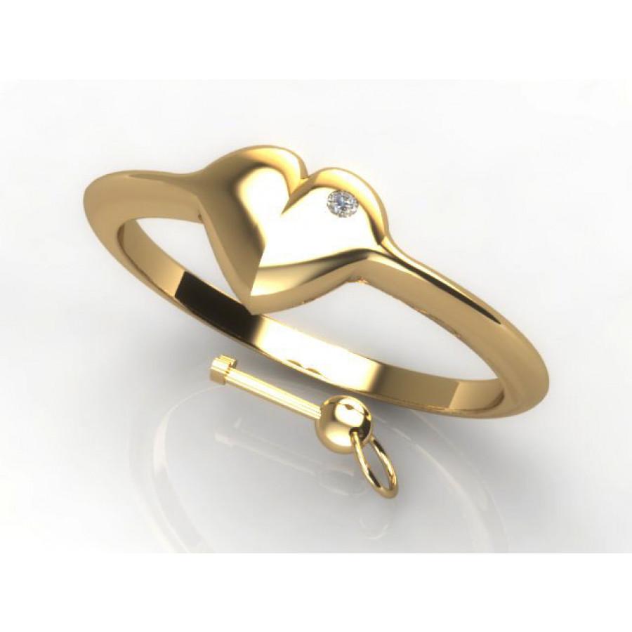 Złoty pierścionek zaręczynowy z cyrkonią PZ-SERCE-1