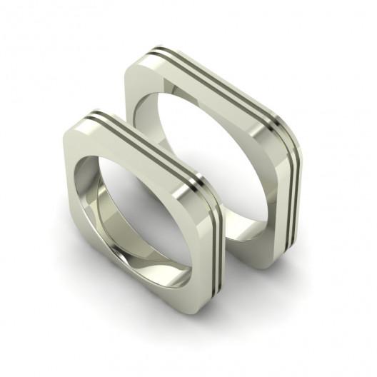 Obrączki Ślubne białe złoto OBB-002-4