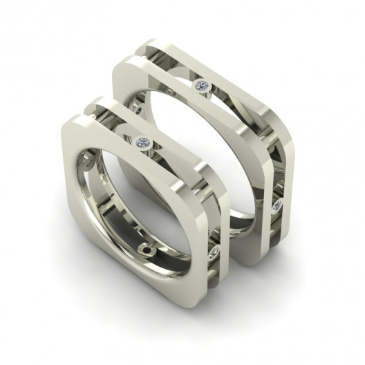Obrączki Ślubne białe złoto OBB-003-1