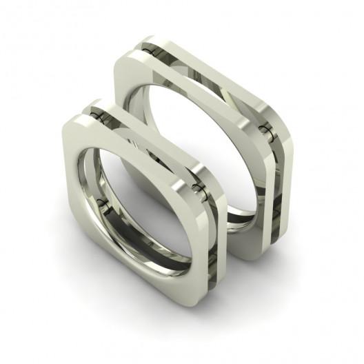 Obrączki Ślubne białe złoto OBB-003