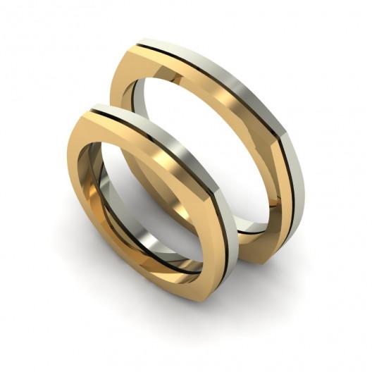 Obrączki Ślubne żółte i białe złoto OB-001-2