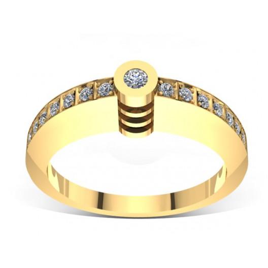 Złoty pierścionek zaręczynowy z brylantami 0,1ct PZ-048