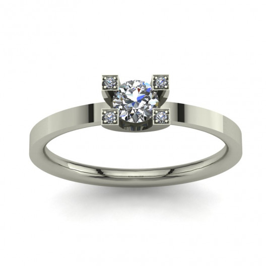 Złoty pierścionek zaręczynowy z brylantami 0,284ct PZB-054
