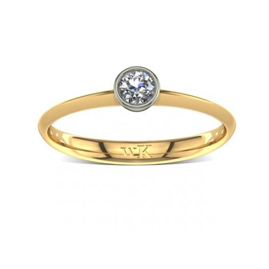 Złoty pierścionek zaręczynowy z brylantem 0,1ct PZ-030