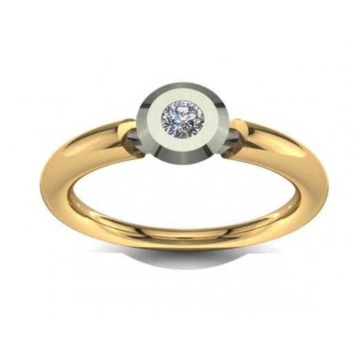 Złoty pierścionek zaręczynowy z brylantem 0,1ct PZ-032