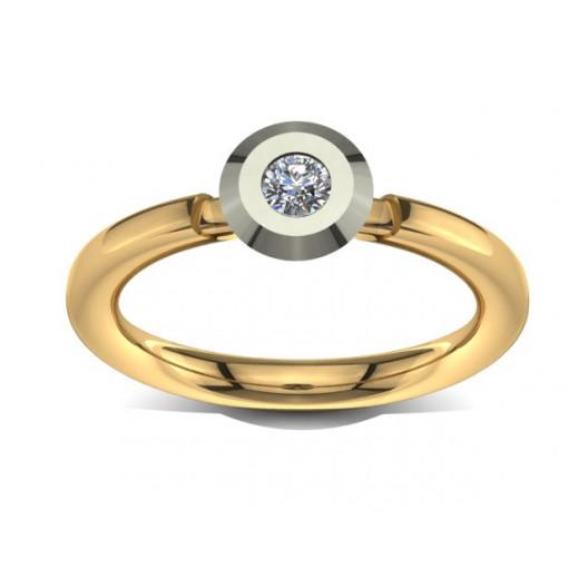 Złoty pierścionek zaręczynowy z brylantem 0,1ct PZ-034