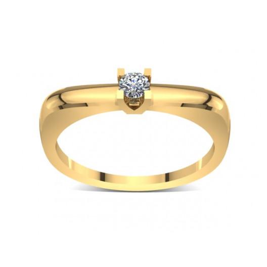 Złoty pierścionek zaręczynowy z brylantem 0,1ct PZ-036
