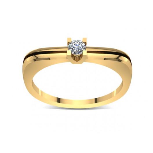 Złoty pierścionek zaręczynowy z brylantem 0,1ct PZ-037