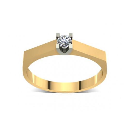 Złoty pierścionek zaręczynowy z brylantem 0,1ct PZ-039