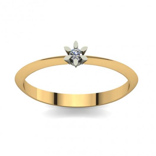 Złoty pierścionek zaręczynowy z brylantem 0,1ct PZ-041