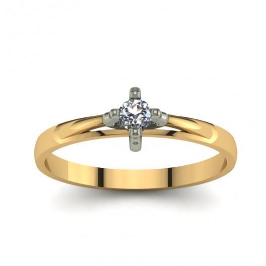 Złoty pierścionek zaręczynowy z brylantem 0,1ct PZ-051