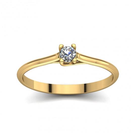 Złoty pierścionek zaręczynowy z brylantem 0,1ct PZ-052