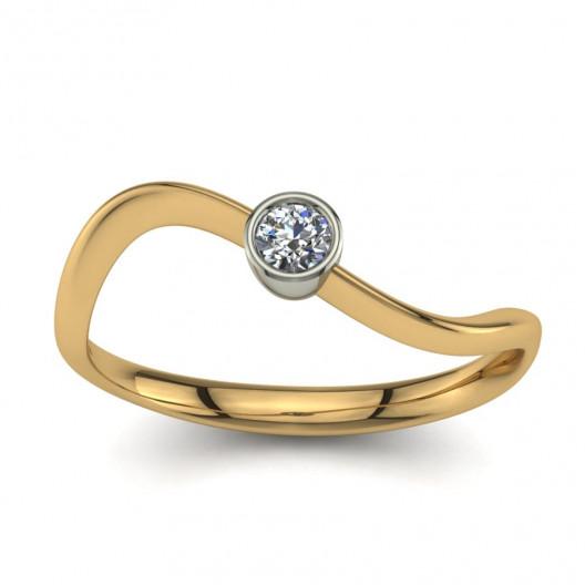 Złoty pierścionek zaręczynowy z brylantem 0,1ct PZ-058