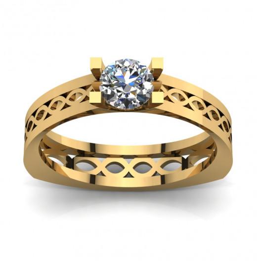 Złoty pierścionek zaręczynowy z cyrkonią PZ-067C