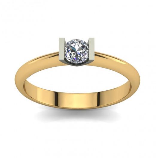 Złoty pierścionek zaręczynowy z cyrkonią PZ-070C