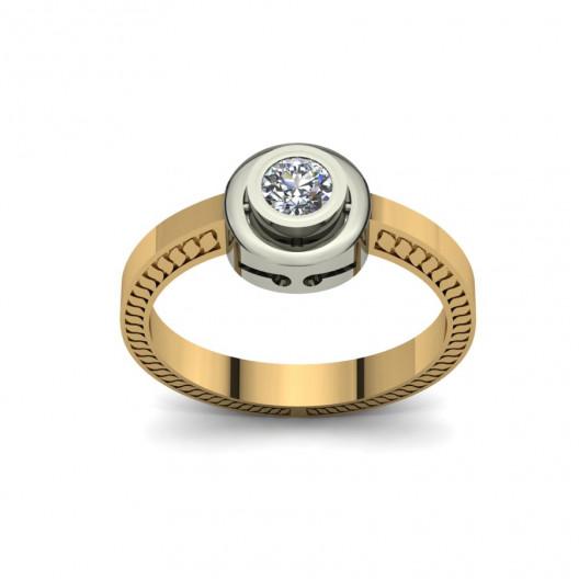 Złoty pierścionek zaręczynowy z cyrkonią PZ-082C