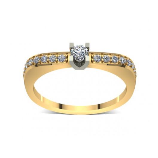 Złoty pierścionek zaręczynowy z cyrkoniami PZ-038C