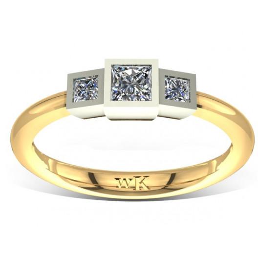 Złoty pierścionek zaręczynowy z cyrkoniami PZ-044C