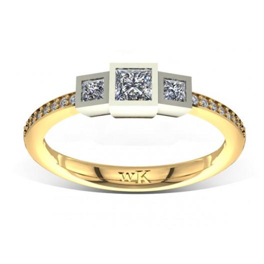 Złoty pierścionek zaręczynowy z cyrkoniami PZ-045C
