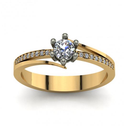 Złoty pierścionek zaręczynowy z cyrkoniami PZ-053C