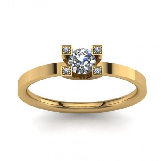 Złoty pierścionek zaręczynowy z cyrkoniami PZ-054C