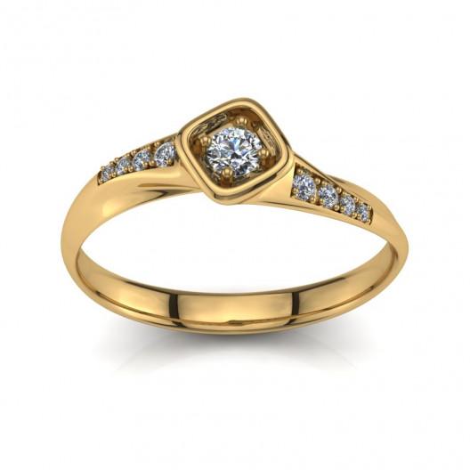 Złoty pierścionek zaręczynowy z cyrkoniami PZ-200C