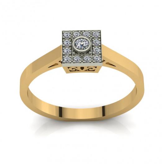 Złoty pierścionek zaręczynowy z cyrkoniami PZ-201C