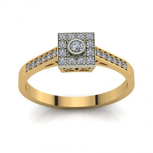 Złoty pierścionek zaręczynowy z cyrkoniami PZ-202C