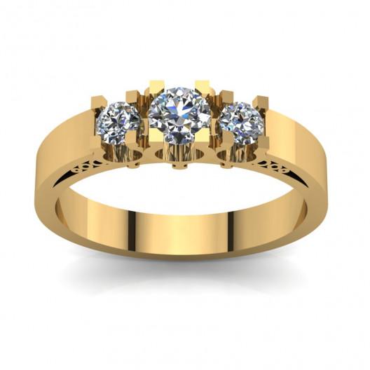 Złoty pierścionek zaręczynowy z cyrkoniami PZ-077C